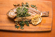 Staple & Fancy offers a seasonal grilled fish on each menu.