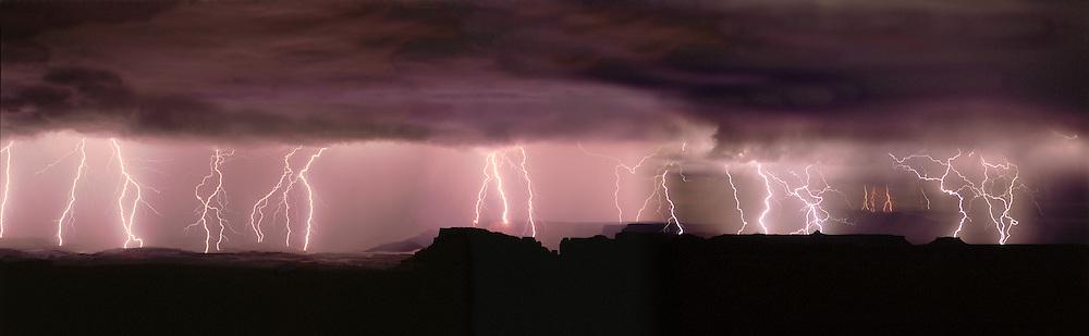 Lightning storm,east rim & Hatch Point, Canyonlands, panorama