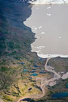 Aerial view of glacier terminus near Skolai Pass, Wrangell-St. Elias National Park Alaska