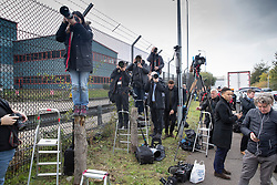 © Licensed to London News Pictures. 23/10/2019. Grays, UK. Press and television crews gather outside the Waterglade Industrial Park in Grays, Essex where the bodies of 39 people have been found in a lorry container. The driver, a 25-year-old-man from Northern Ireland, has been arrested on suspicion of murder. . Photo credit: Peter Macdiarmid/LNP
