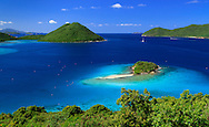180 degree view of Waterlemon Cay within Leinster Bay from the James Murphy Estate House ruins off of the Johnny Horn Trail, all inside Virgin Islands National Park St. John, US Virgin Islands.
