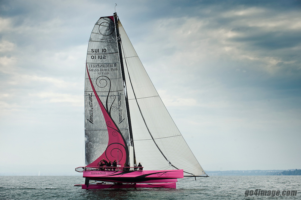 D35 Catamaran owened by Dona Bertarelli, imagws taken during the training in September 2009, the team races in the mayor events on lake Geneva and the Challenge Julius Baer, on the helm Karine Fauconnier
