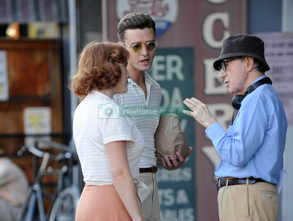 Justin Timberlake and Kate Winslet film a scene for Woody Allen's new film on location in Queens in New York, USA.