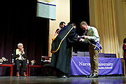 SHOT 5/10/15 3:08:29 PM - Naropa University Spring 2015 Commencement ceremonies at Macky Auditorium in Boulder, Co. Sunday. Parker J. Palmer, a world-renowned author and activist known for his work in education and social change, delivered the commencement speech to more than 300 graduate and undergraduate students along with Naropa faculty and graduate's family members. Naropa University is a private liberal arts college in Boulder, Colorado founded in 1974 by Tibetan Buddhist teacher and Oxford University scholar Chögyam Trungpa. (Photo by Marc Piscotty / © 2014)