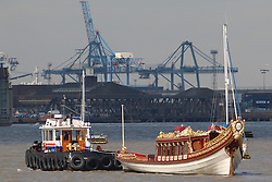 © Licensed to London News Pictures. 05/04/2016. The Queen's Row Barge Gloriana has returned to the Thames after being stored out of the water at a Port of London Authority facility in Gravesend during the winter months. The popular craft, built for the Diamond Jubilee Pageant in 2012, takes part in a series of events on the Thames throughout the year, starting with the Tudor Pull from Hampton Court to the Tower of London later this month . Credit : Rob Powell/LNP