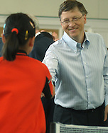 05/06/07 Omaha, NE Microsoft's Bill Gates  shakes hands with Ariel Hsing,11, after his match against Hsing as part of an event for  the Berkshire Hathaway annual meeting Sunday at Regency Court Sunday afternoon..(photo by Chris Machian/Prarie Pixel Group).