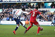 Shaun Cummings of Millwall shoots to score his sides 1st goal to make it 1-0. The Emirates FA Cup 5th round match, Millwall v Leicester City at The Den in London on Saturday 18th February 2017.<br /> pic by John Patrick Fletcher, Andrew Orchard sports photography.