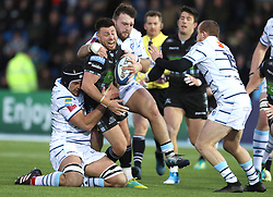 Glasgow Warriors Ali Price challenges Cardiff Blues George Earle during the Heineken Champions Cup match at Scotstoun Stadium, Glasgow.