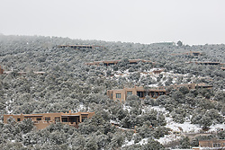 Adobe homes in Santa Fe, NM during the winter season