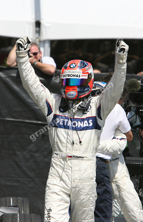 Robert Kubica (BMW) celebrates after the 2008 Canadian Grand Prix in Montreal. Photo: Grand Prix Photo