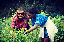 "Michelle Obama releases a photo on Twitter with the following caption: """"Productive & fun day @WhiteHouse Kitchen Garden today! Thank you @BGCGW for all of your help! #HealthyEating #HealthyLiving https://t.co/lecdgqQnyu"""". Photo Credit: Twitter *** No USA Distribution *** For Editorial Use Only *** Not to be Published in Books or Photo Books ***  Please note: Fees charged by the agency are for the agency's services only, and do not, nor are they intended to, convey to the user any ownership of Copyright or License in the material. The agency does not claim any ownership including but not limited to Copyright or License in the attached material. By publishing this material you expressly agree to indemnify and to hold the agency and its directors, shareholders and employees harmless from any loss, claims, damages, demands, expenses (including legal fees), or any causes of action or allegation against the agency arising out of or connected in any way with publication of the material."