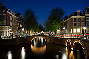 Canal and bridges - Kaisersgracht and Leidsegracht, canal ring area, Jordaan district, Amsterdam