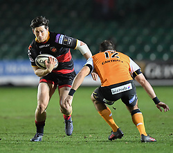 Dragons' Sam Beard being tackled by Cheetahs' Niel Marais<br /> <br /> Photographer Mike Jones/Replay Images<br /> <br /> Guinness PRO14 Round Round 18 - Dragons v Cheetahs - Friday 23rd March 2018 - Rodney Parade - Newport<br /> <br /> World Copyright © Replay Images . All rights reserved. info@replayimages.co.uk - http://replayimages.co.uk