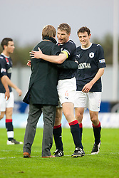 Steven Pressley, Falkirk manager with Darren Dods at the end..Falkirk 1 v 0 Queen of the South, 15/10/2011..Pic © Michael Schofield.