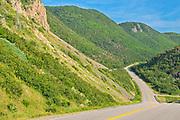 The Cabot Trail. Appalachain Mountains.  Near Cheticamp. Cape Breton Island.<br />Cape Breton Highlands National Park<br />Nova Scotia<br />Canada