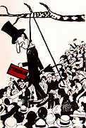 Caricature against Prohibition (of alcohol). A mob hanging an effigy of Prohibition from a tree. 1932.