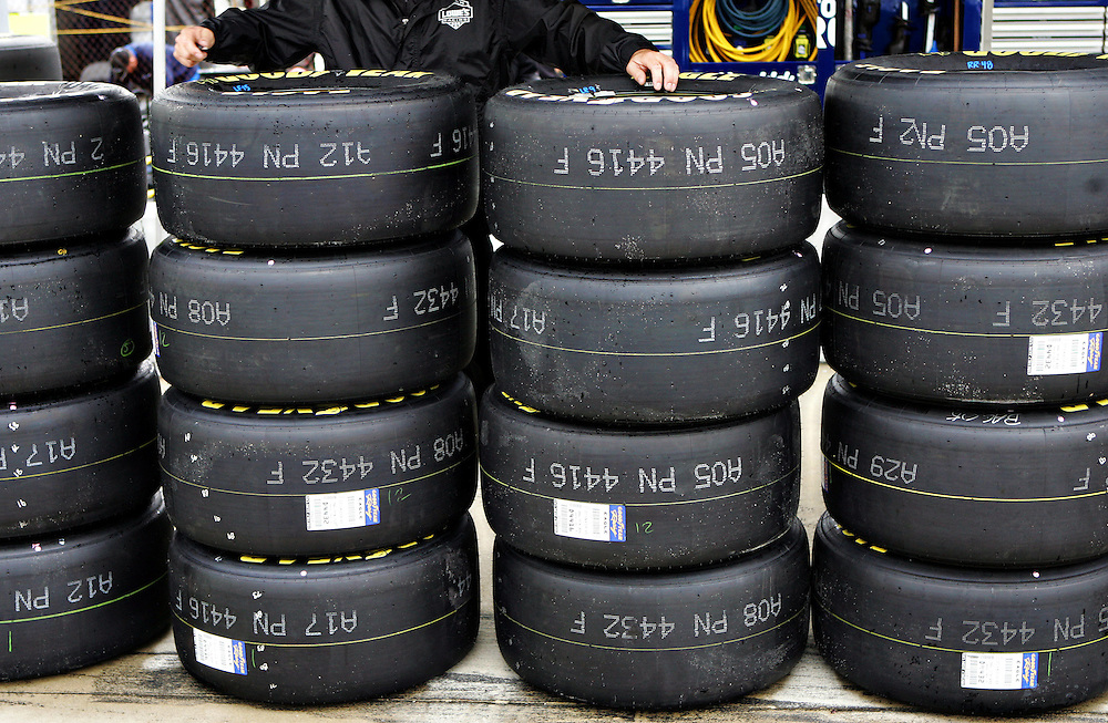 Apr 28, 2012; Richmond, VA, USA; A view of tires before the Capital City 400 at Richmond International Raceway. Mandatory Credit: Peter Casey-US PRESSWIRE.
