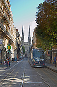 The modern tram. Cathedral Saint Andre. Rue Vital Carles. Bordeaux city, Aquitaine, Gironde, France