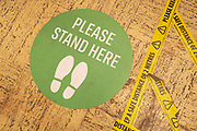 Social distancing queue markings on the floor at the home and outdoor store Homebase garden centre under Coronavirus lockdown on 21st May 2020 in Birmingham, England, United Kingdom. DIY shops have been allowed to be open for the last few days and flocks of people have queued at them to buy home and garden goods. Coronavirus or Covid-19 is a new respiratory illness that has not previously been seen in humans. While much or Europe has been placed into lockdown, the UK government has put in place more stringent rules as part of their long term strategy, and in particular social distancing.