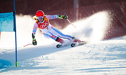 February 15, 2018 - Pyeongchang, South Korea - MIKAELA SHIFFRIN of the United States on her way to the second fastest time of the first run at the Womens Giant Slalom event at the Yongpyang Alpine Center. (Credit Image: © Mark Reis via ZUMA Wire)