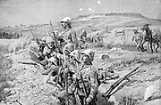 Boer War: Siege of Ladysmith by Boers, 1 November 1899 - 28 February 1900: defending British troops in trenches fixing bayonets in preparation to repel attack.