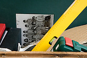 detail of toolbox with box with photo album and boxes