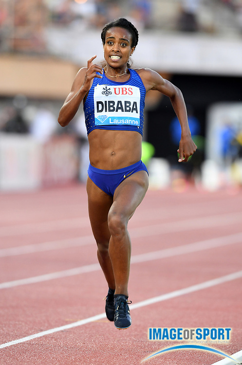 Aug 25, 2016; Lausanne, Switzerland; Genzebe Dibaba (ETH) wins the women's 3,000m in 8:31.84 during the 2016 Athletissima in an IAAF Diamond League meeting at Stade Olympique de la Pontaise. Photo by Jiro Mochizuki