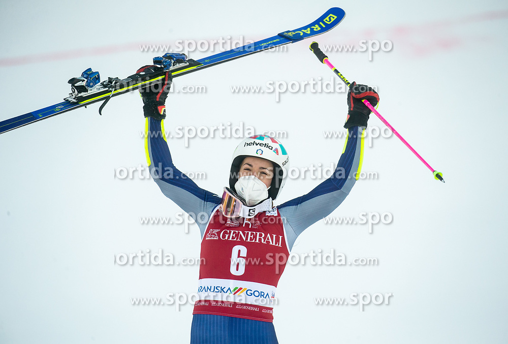 Winner Marta Bassino (ITA) celebrates during 2nd Run of Ladies' Giant Slalom at 57th Golden Fox event at Audi FIS Ski World Cup 2020/21, on January 16, 2021 in Podkoren, Kranjska Gora, Slovenia. Photo by Vid Ponikvar / Sportida