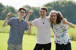 © Licensed to London News Pictures. 10/08/2021.Leeds,UK. Thomas Ingleby,18 Jake Masters,18 and Nicky Davis,18, celebrate their Α level results at The Grammar School at Leeds. Photo credit: Ioannis Alexopoulos/LNP