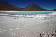 Laguna Verde, with Volcan Licancabur in the background, sits just near the border between Bolivia and Chile, high on the Altiplano
