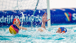 Robin Lindhout of the Netherlands in action against Montenegro during the Olympic qualifying tournament. The Dutch water polo players are on the hunt for a starting ticket for the Olympic Games on February 19, 2021 in Rotterdam