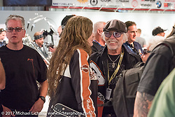 Cris Simmons and Willie G Davidson at the Old Iron - Young Blood exhibition media and industry reception in the Motorcycles as Art gallery at the Buffalo Chip during the annual Sturgis Black Hills Motorcycle Rally. Sturgis, SD. USA. Sunday August 6, 2017. Photography ©2017 Michael Lichter.