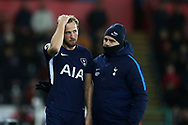 Tottenham Hotspur manager Mauricio Pochettino talks to Harry Kane of Tottenham Hotspur ahead of sending Kane on as a 2nd half replacement. Premier league match, Swansea city v Tottenham Hotspur at the Liberty Stadium in Swansea, South Wales on Tuesday 2nd January 2018. <br /> pic by  Andrew Orchard, Andrew Orchard sports photography.