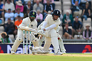Stuart Broad of England misses the ball and is hit on the pad bringing a review for LBW from India which is given not out during the first day of the 4th SpecSavers International Test Match 2018 match between England and India at the Ageas Bowl, Southampton, United Kingdom on 30 August 2018.