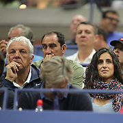 2017 U.S. Open Tennis Tournament - DAY TWO. Xisca Perello, partner of Rafael Nadalof Spain, watches his match against DusanLajovic of Serbia during the Men's Singles round one match at the US Open Tennis Tournament at the USTA Billie Jean King National Tennis Center on August 29, 2017 in Flushing, Queens, New York City.  (Photo by Tim Clayton/Corbis via Getty Images)
