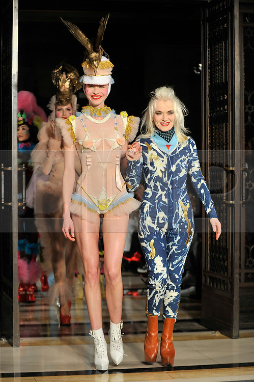© Licensed to London News Pictures. 16/02/2018. LONDON, UK. (R) Designer Pam Hogg at Fashion Scout AW18, part of London Fashion Week, taking place at Freemasons Hall in Covent Garden.  Photo credit: Stephen Chung/LNP