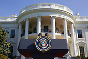 The White House with microphones for high profile diplomatic visit, Washington DC, United States of America