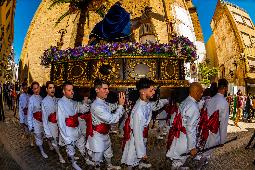"A paso (float) carried by men called ""costaleros"" from the Brotherhood (Hermandad) de Nuestro Padre Jesus on Palm Sunday of Holy Week (Semana Santa), Loja, Granada Province, Andalusia, Spain."