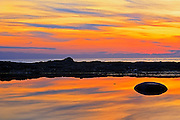 Gulf of St. Lawrence reflection at sunset<br /> Grosses Roches<br /> Quebec<br /> Canada