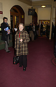 Thelma Barlow. The premiere for the new Cirque Du Soleil production, Alegria, at the Royal Albert Hall and party afterwards in the Kensington Roofgarden. London.  5 January 2006. ONE TIME USE ONLY - DO NOT ARCHIVE  © Copyright Photograph by Dafydd Jones 66 Stockwell Park Rd. London SW9 0DA Tel 020 7733 0108 www.dafjones.com