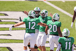 Sep 5, 2020; Huntington, West Virginia, USA; Marshall Thundering Herd quarterback Grant Wells (8) celebrates with Marshall Thundering Herd tight end Garet Morrell (12) after connecting for a touchdown pass during the second quarter against the Eastern Kentucky Colonels at Joan C. Edwards Stadium. Mandatory Credit: Ben Queen-USA TODAY Sports