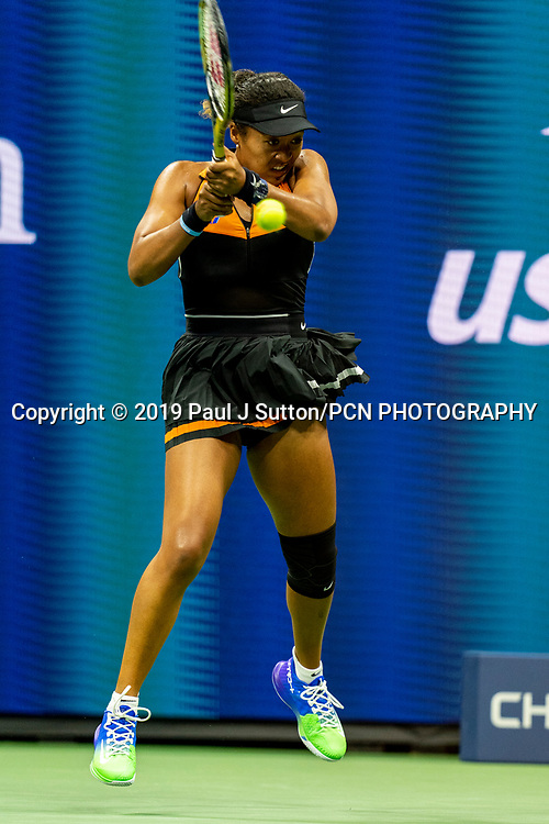 Naomi Osaka of Japan competing in the third round of the 2019 US Open Tennis