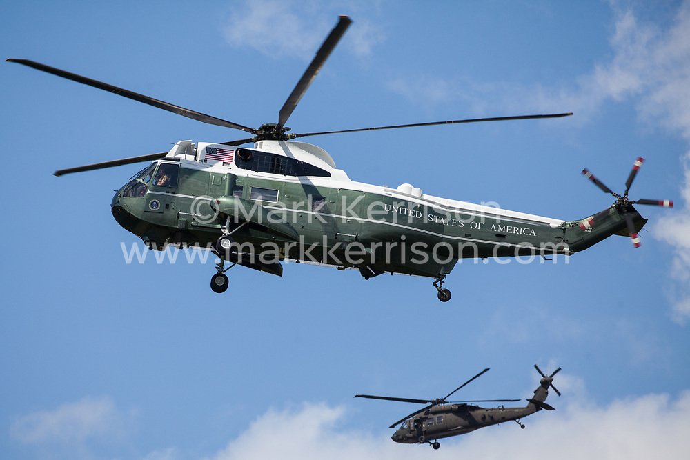London, UK. 3 June, 2019. Marine One, the US Marine Corps Sikorsky VH-60N White Hawk helicopter carrying President Trump, arrives at Buckingham Palace where the US President will have lunch with the Queen as part of his state visit to the UK.