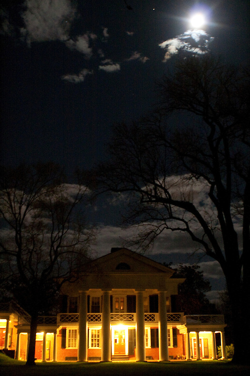 A pavilion on the Lawn at the University of Virginia, lit in the evening by moonlight.