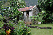 Thatched home, Hanavave, Island of Fatu Hiva, Marquesas Islands, French Polynesia<br />