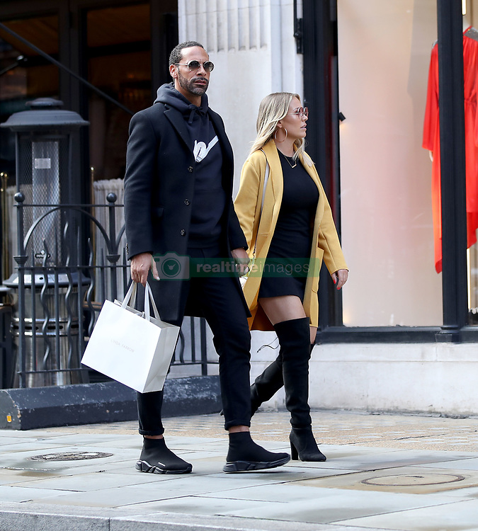 EXCLUSIVE: Rio Ferdinand and his fiancèe Kate Wright pictured leaving Scott's in Mayfair after celebrating his birthday. 07 Nov 2018 Pictured: Rio Ferdinand and Kate Wright. Photo credit: MEGA TheMegaAgency.com +1 888 505 6342