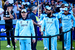 Eoin Morgan of England leads his side in the presentation after his side beat New Zealand in the Cricket World Cup Final - Mandatory by-line: Robbie Stephenson/JMP - 14/07/2019 - CRICKET - Lords - London, England - England v New Zealand - ICC Cricket World Cup 2019 - Final