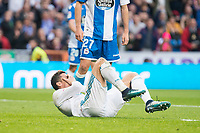 Real Madrid Cristiano Ronaldo injured during La Liga match between Real Madrid and R. C. Deportivo at Santiago Bernabeu Stadium in Madrid, Spain. January 18, 2018. (ALTERPHOTOS/Borja B.Hojas)