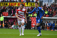 John Marquis of Doncaster Rovers (9) is marked by Alex Lacey of Gillingham (4) on a corner during the EFL Sky Bet League 1 match between Doncaster Rovers and Gillingham at the Keepmoat Stadium, Doncaster, England on 20 October 2018.