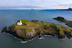 Aerial view of the Island of Fidra in the Firth of Forth off coast of East Lothian, Scotland, UK
